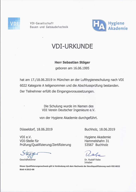 Zertifikat Sebastian Stöger