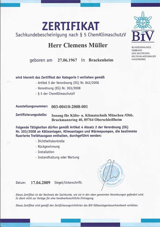 Zertifikat Clemens Müller